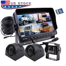 "9"" Quad Monitor DVR Recorder Truck Trailer Backup Camera Rear View Camera System"