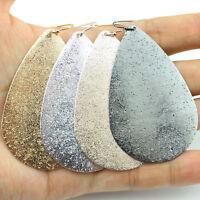 Personalized Monogram Metallic Teardrop Earrings Boho Water Drop Big Earrings