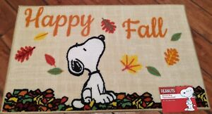 Peanuts Snoopy Happy Fall Leaves Rug Accent Rug Mat 18x30 NWT