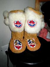 Vtg Handmade beaded Eskimo Real Fur Pom Poms Mukluks Festival moccasin Boots 10