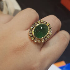 Emerald Gemstone Diamond Pave Wedding Ring 925 Sterling Silver Fine Gift Jewelry