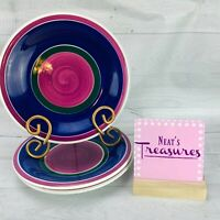 Furio FUO12 Stoneware Cobalt Blue Purple Green Bands Italy Salad Plates Set 3