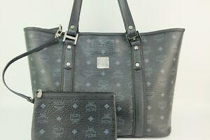 100% Authentic MCM Black Visetos Shopper Shoulder Bag With Pouch and Dust Bag