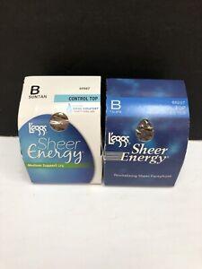 L'eggs Sheer Energy Control Top Suntan & Taupe Size B Reinforce Toe