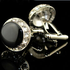 Round white Crystal+Black Mens Wedding Party shirt cufflinks cuff links