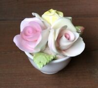 Vintage Bone China Coalport England Pink & Yellow Roses Bouquet Figurine