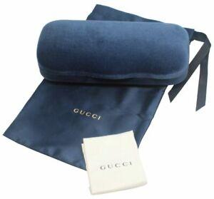Gucci Authentic Designer Hard Velvet Clamshell Eyeglass/Sunglass Case Royal Blue
