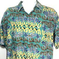 Kahala Hawaiian Islands Shirt AVI Collection Green Rayon Mens Medium