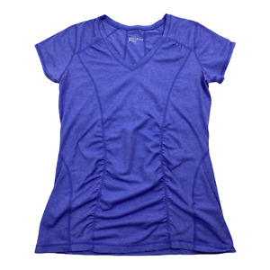 Zella Womens XL Activewear T-shirt Lilac V Neck Stretch Pullover Paneled Tee