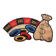 ID 8573 Casino Gambling Wheel Patch Chip Money Bag Embroidered Iron On Applique