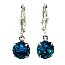 Round Stone Indicolite Blue Chaton Dangle Earrings Crystals from Swarovski