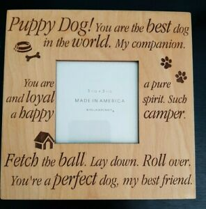 Wood Photo Frame Puppy Dog LaserCraft Picture 3 1/2 by 3 1/2 Inches Best Dog