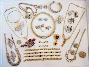 STUNNING Vintage Mod Jewelry LOT Swarovski Monet Crown Trifari Napier Avon+