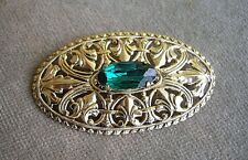 Stylish Vintage Czech Filigree & Emerald Green Glass Oval Brooch