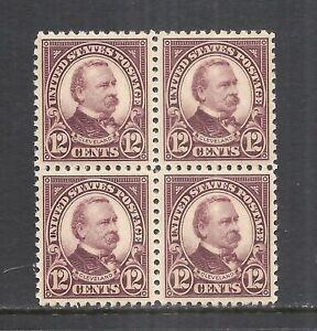 U.S. SCOTT 564 MXLH BLOCK OF 4 - 1923 12c VIO BRWN  FOURTH BUREAU ISSUE  CV $21