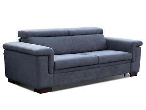 Schlafsofa mit integrierter Matratze JIMO Sofa Couch Dauerschläfer Grau-Blau