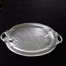 """Large Pewter Serving Tray With Open Handles 21"""" L x 13"""" W Grapes Leaves Design"""