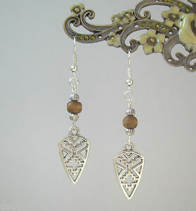 Tribal Charm Wood Bead Dangly S/P Earrings - Ethnic Native Boho