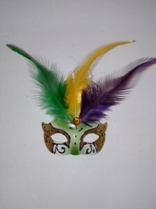 Mardi Gras Feather Mask Ornament Magnet Purple Green & Gold  New Orleans