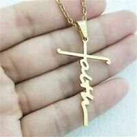 Women's Men Christian Faith Cross Stainless Steel Silver Pendant Necklace Gifts