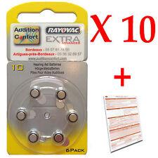 10 plaquettes de 6 piles réf.: 10  (jaune) RAYOVAC PR70 pour appareils auditifs