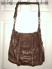Cynthia Rowley Large Brown Leather Nailhead Studded Hobo Shoulder Bag 12x 12