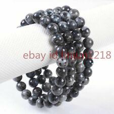 "Labradorite Beads Stretchable Bracelet 7.5"" 4pcs 8mm Larvikite Round Gemstone"