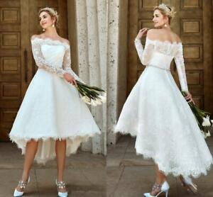 High Low Beach Wedding Dress Lace Long Sleeve Off Shoulder Short Bridal Gown Hot