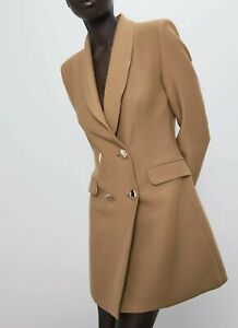 NWT/_ZARA AW19 WOMAN DOUBLE BREASTED HOUNDSTOOTH BLAZER GOLD BUTTON 8192//532