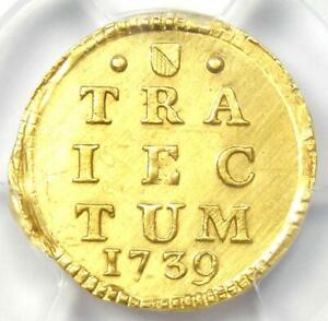 1739 Netherlands Utrecht Gold Stuiver Coin 1S. PCGS Uncirculated Detail (MS UNC)