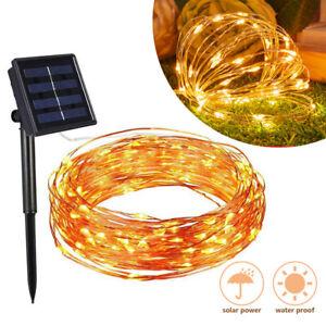 100-200 LED Solar Lichterkette Kupferdraht Beleuchtung Garten Party Deko Außen