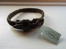 NEW Fossil Green Braided Leather Bracelet JF02370793 BNWT