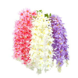 Artificial Flowers Fake Wisteria Vine Ratta Orchid Wall Hanging Home Decor