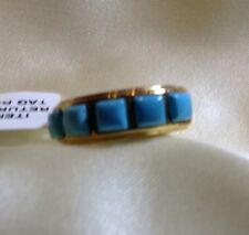 1.5 Ct, Arizona Sleeping Beauty, Turquoise Ring, Gold On Sterling Silver, Size M
