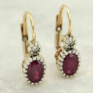 14 kt ct k Real Yellow GOLD Natural RUBY and DIAMOND Drop Antique Style Earrings