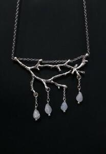 Silver Plated Branch necklace, Elven Jewelry,Moonstone,Witchy,Pagan,Gift for Her