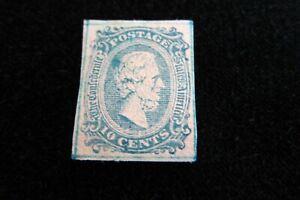 US Stamp CONFEDERATE SCOTT #10 MINT w/ Blue Frame Line Jefferson *Counterfeit*