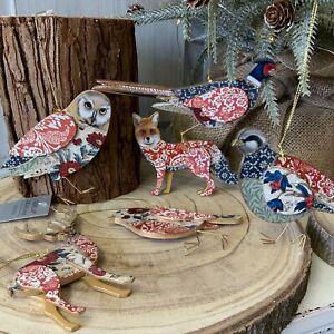 2021 Wood Arts&Crafts Gisela Graham Christmas Tree Decoration Woodland Animal