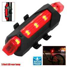 USB Rechargeable 5 Red LED Bike Waterproof Rear Tail Back Light Lamp Safety Beam