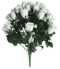"""24 White Closed Rose 23"""" Lg Bouquet Wedding Party Home Decor Flower Favor Office"""