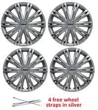 FORD Fiesta ruota rifinitura TAPPI TAPPO PLASTICA copre set completo nero argento 15 in (ca. 38.10 cm)