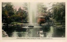 Vancouver BC~Fountain in Ornamental Lake~Ducks~Stanley Park~Colorized RPPC~1950s