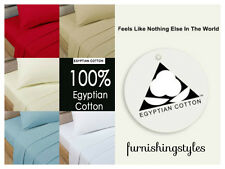LUXURY NATURAL EGYPTIAN COTTON FITTED SHEETS BEDDING SINGLE DOUBLE KING S KING