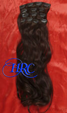 """HAIR EXTENSION 15"""" DARK BROWN 100% HUMAN 14 CLIP ON IN WEFT REMI QUALITY"""