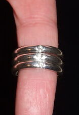 ELSA PERETTI / TIFFANY & CO. STERLING AND DIAMOND (3) STACKING RINGS / SIGNED