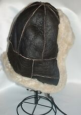 NEW! Brown Sheepskin Bomber Aviator Trapper Warm Hat, Unisex Real Leather