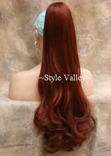 Red Ponytail Extension Hair Piece Long Wavy Claw Clip in on Straight wavy ends