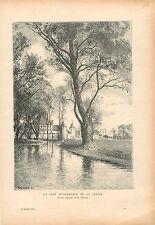 Château au bord de la rivière en Suisse par Krieger GRAVURE ANTIQUE PRINT 1914