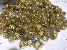 100pcs 7.6mm Clear Sew on Gold Claw Crystal Rhinestone Diamonte wedding/craft