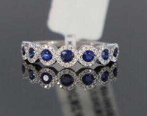 $2,850 18K White Gold Blue Sapphire Round Diamond Wedding Band Ring Size 6.5